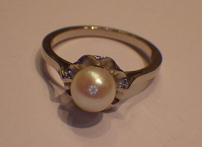 Belle Bague Or Blanc ( Gold ) 18 Carats 750 Sertie D'une Perle @ Taille 53 !