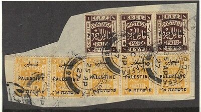 "PALESTINE 1927 2nd LONDON OVPTD ISSUE TIED 4 ""JAFFA"" CANCELS DATED: 25.AP.27"