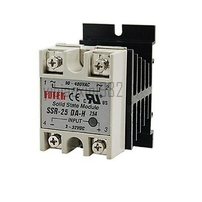 New Single Phase Solid State Relay SSR 25DA 25A 3-32V DC / 90-480VAC + Heat Sink