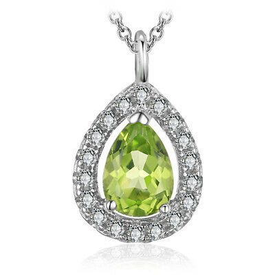 JewelryPalace Pear 0.8ct Natural Peridot 925 Sterling Silver  Pendant  Necklace