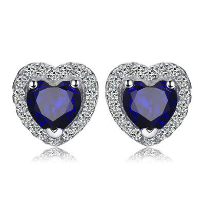 JewelryPalace Heart  1.2ct Created Blue Sapphire 925 Sterling Silver Earrings