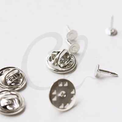20 Sets White Gold Nail/Tie Tack Blank Pin w Clutch Back/Scatter Pin 1895C-M-334