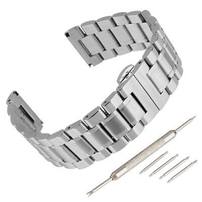 Stainless Steel Bracelet Watch Band Strap Double Clasp Solid Links Black/Silver