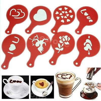 Nice 8Pcs Barista Creative Coffee Stencils Template Strew Pad Duster Spray Art