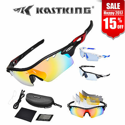 KastKing Sports Sunglasses Cycling 5 Interchangeable Lenses Silver Frame Goggles