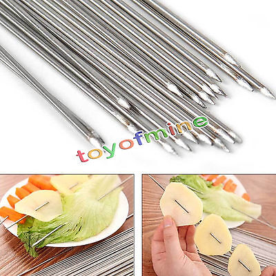 Stainless Steel 35cm Barbecue BBQ Skewers Needle Kebab Kabob Stick