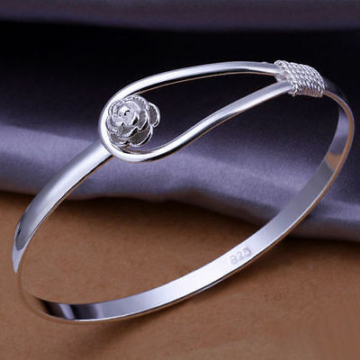 Xmas Wholesale Solid 925silver Jewelry Silver Rose Cuff Bracelet Bangle Link Hot