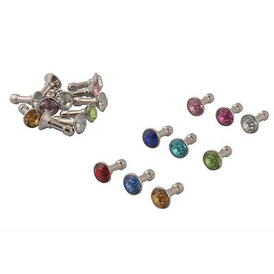 Faux Rhinestone Decor Earphone Jack Anti Dust Ear Cap Assorted Color 20pcs