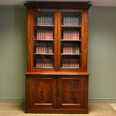 Beautiful Quality Large Victorian Figured Mahogany Antique Glazed Bookcase