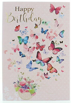 "Open Female Birthday Card - Bright Pink Orchids & Big Butterflies 7.75"" x 5.25"""