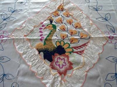 Vintage WWII Satin Bedspread Set Embroidered Peacock Ruffled Cream