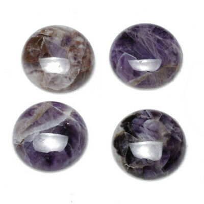 1 x Purple Amethyst 25mm Coin-Shaped Flat-Backed Cabochon CA16682-8