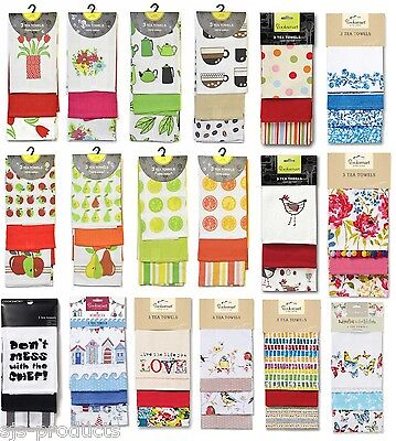 3 Pack of Quality 100% COTTON Cooksmart Tea Towels Country Kitchen Novelty NEW