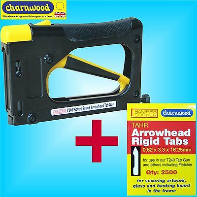 Charnwood T240 Hand Operated Tab Driver Picture Framing Gun + 2500 Tabs points
