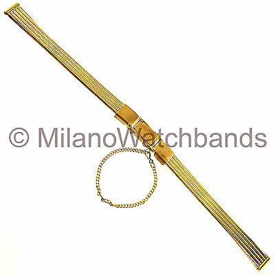 8mm Speidel Gold Tone Stainless Center Clasp w/ Chain Ladies Watch Band 1828/10