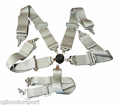 "Racing Harness Seat Belt 3"" 4 / 5 / 6 Point Fixing Silver / Grey Quick Release"