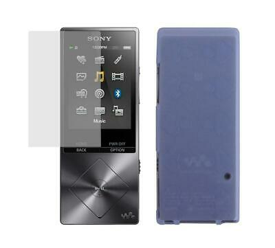 Screen Protector + Light Blue TPU Skin Cover Case for Sony Walkman NW-A25 NW-A26