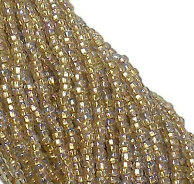 Bronze Lined Crystal AB Czech 11/0 Glass Seed Beads 1-6 String Hank Preciosa