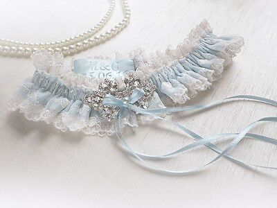 IVORY or WHITE LACE PALE BLUE VINTAGE WEDDING BRIDAL PERSONALIZED GARTER