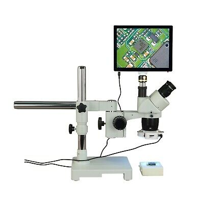 Trinocular 20X-40X-80X 5MP Touchscreen Stereo Boom Microscope+56 LED Ring Light