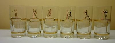 1957 Lot of 6 Sports Champions Souvenir Glasses