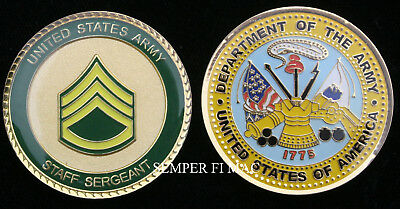 Staff Sergeant Us Army Usa Ssgt Challenge Coin E-6 Pin Up Promotion Gift Wow!