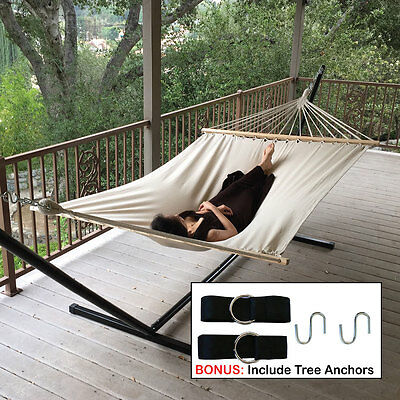 Outdoor Swing Chair Cotton Double Bed Canvas Hammock + Hanging Tree Strap
