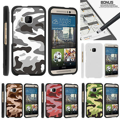 For HTC One M9 Case Hard Snap On 2 Piece Slim Shell Army Camouflage
