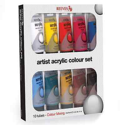 10 x 75ml REEVES ACRYLIC PAINT TUBES ARTIST ART SET WATER BASED RED WHITE BLUE