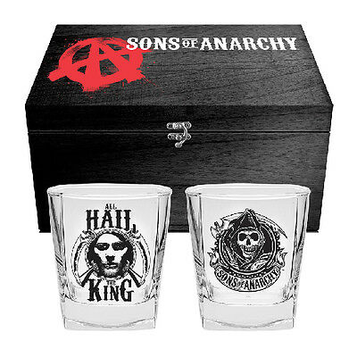 SOA Sons Of Anarchy Spirit Glasses Box Gift Set Fathers Day Birthday Christmas