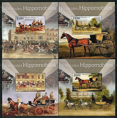 Burundi 2012 Horse Drawn Vehicles Set Of Four Deluxe  Souvenir Sheets  Mint Nh