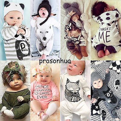 Newborn Baby Boys Girls Kids Cotton Rompers Bodysuit Playsuit Outfit Clothes Set