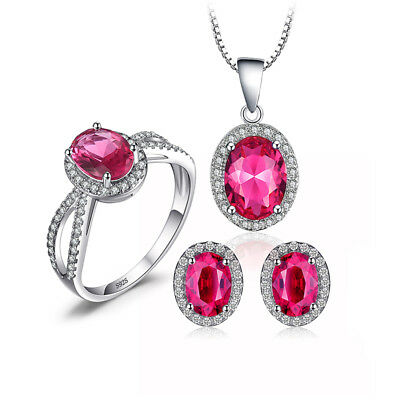 JewelryPalace 5.9ct Created Pink Sapphire Jewelry Sets Solid 925 Sterling Silver