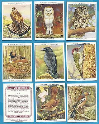 Players Cigarette Cards - WILD BIRDS - Full mint condition set