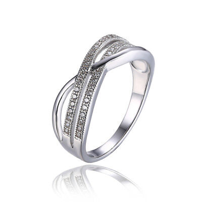 JewelryPalace Infinity Knot Cubic Zirconia Wedding Band Ring 925 Sterling Silver