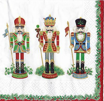 Christmas Paper Napkins Caspari 20 pack Nutcracker Parade White