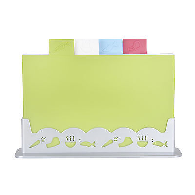 Colourful 4pcs Coordinated Kitchen Chopping Board Set With Silver Plastic Stand