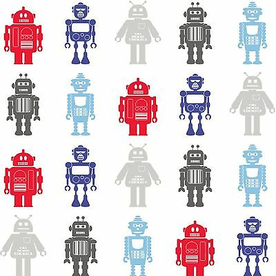 Hoopla Robots Wallpaper 10M New Room Decor - White