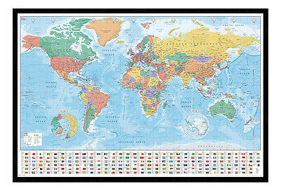 Framed World Map With Flags And Facts Poster New