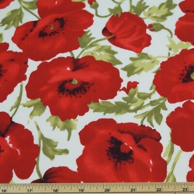 100% Cotton Poplin Fabric John Louden Large Red Poppy Floral Poppies