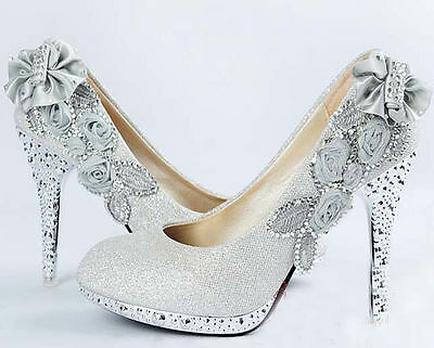 Blanc Chaussures Mariage - Superbe Strass Mariage Talon Haut Mariage – Taille 6