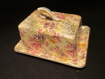Lord Nelson Ware #2750 Heather Chintz Vintage Cheese Dish with Plate BCM England