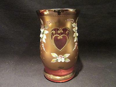 Bohemian Crystal Beautiful Vintage Cranberry Vase Gold & Floral Applied Design
