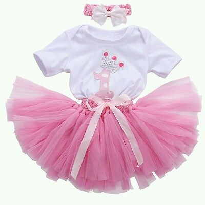 Baby Girls First 1st Birthday Tutu Romper Dress Cake Smash Outfit set Party UK