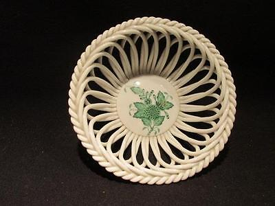 Herend Hungary Lovely Vintage Hand Painted Reticulated Lattice Bowl Green Floral