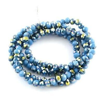 70+ Pale Blue Czech Crystal Opaque Glass 6x8mm AB Faceted Rondelle Beads HA20375