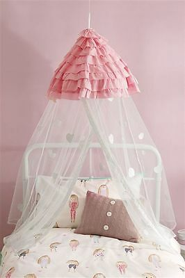 New Fab Next Pink White Love Heart Bed Canopy Childrens Girls Bedroom Loveheart