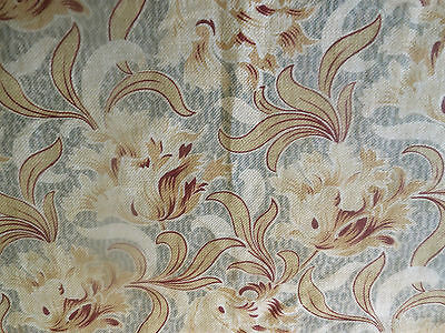 Antique French Nouveau Tulip Floral Cotton Fabric ~ Gray  Burgundy Bordeaux Tan