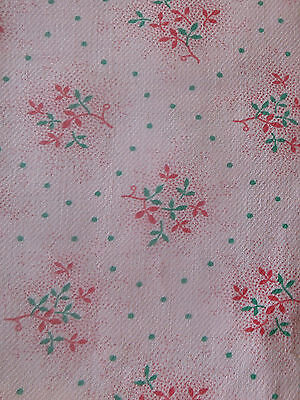 Vintage French Petite Small Scale Pink Green Sprig Floral Dot  Cotton Fabric ~