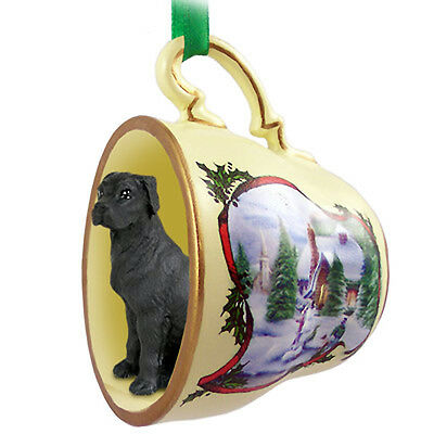 Great Dane Dog Christmas Holiday Teacup Ornament Figurine Blk Uncrop